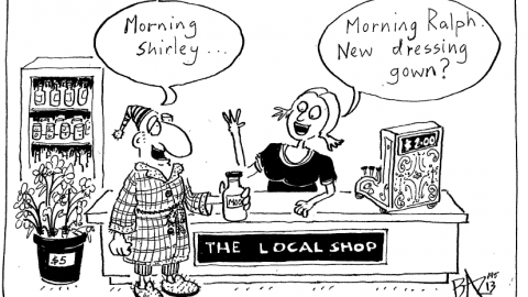 Baz the cartoonist does a sketch on shop local