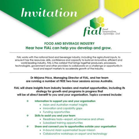 Invitation to a Food Innovation Australia Ltd Event