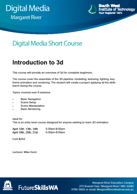 An exciting new short course in 3D Animation being offered over the school holidays